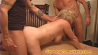 Nasty GRANNY USED as a CUM DUMP