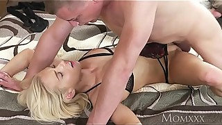 MOM Wife lets husband cheat with blonde Russian sensual fuck and squirting