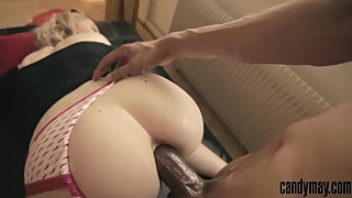 BLONDE WIFE GET HER ASS FUCKED HARD BY BBC