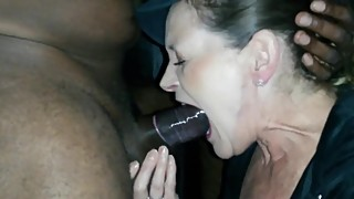 Wife sucks first black cock
