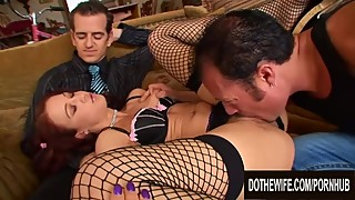 Wife Cheyenne Jewel Rests on Cuckold Hubbys Lap as Another Man Plows Her