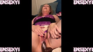 ENSEXY1: Wife Cums on Big Black Cock Dildo while Cuckold Films