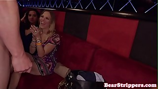 Glam babe cockrides stripper at CFNM party