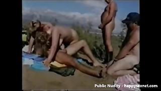My horny wife having fun with stranger at beach