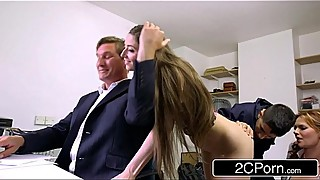 Sneaky Skinny Bastard Fucks Boss'_s Wife and Daughter - Tarra White, Leyla Morgan