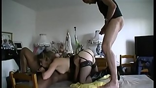 He is watching his wife Indalina fucked by 2 guys