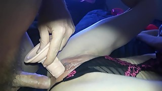 sexy petite wife dp'd with dick in her ass and dildo in her snatch