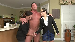 Bitchy Boss and Wife Jerk Off Husbands BIG DICK