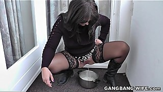 Kinky wife pissed on by many strangers