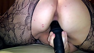 Neighbor's Slutty Wife: Sexy body net lingerie The Violator X- Large Dildo