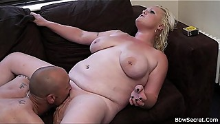 Blonde fatty rides married man'_s cock