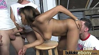 Naughty black wife gang banged by white friends 9