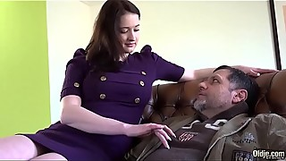 Grandpa Fucking Young Teen with Beautiful Big Boobs in Old Young Sex