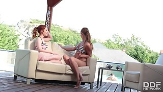 Sunny Poolside Threesome: Husband And Wife Fuck Playmate