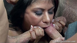 MexiMILF Gabby Quinteros Gets Gangbanged!